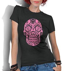 Camiseta Feminina Caveira Mexicana Flores - Personalizadas/ Customizadas/ Estampadas/ Camiseteria/ Estamparia/ Estampar/ Personalizar/ Customizar/ Criar/ Camisa Blusas Baratas Modelos Legais Loja Online