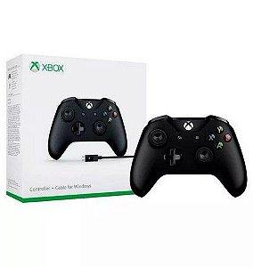 CONTROLE XBOX ONE S BLACK ORIGINAL MICROSOFT + CABO