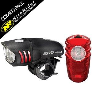 Kit iluminação NiteRider Farol Dianteiro e Vista Light Mako 200 Usb