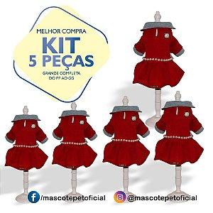 KIT 5 PEÇAS Ref. 803 Vestido Red