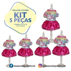 KIT 5 PEÇAS Ref 540 - Vestido Unicórnio