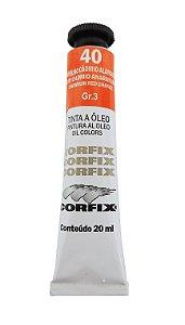 Tinta Oleo Corfix 20ml 40 vermelho Cádmio Alaranjado Claro Grupo 3