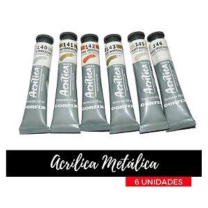 Tinta Acrílica Metálica Iridescente Corfix 20 ml (6 unidades)