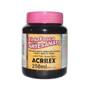 Tinta Fosca para Artesanato Acrilex 250ML - 520 Preto