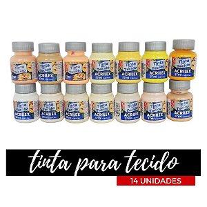 Tinta para Tecido Acrilex 37ml - Degradê Neve (14 unidades)