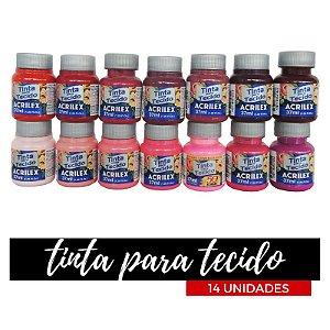 Tinta para Tecido Acrilex 37ml - Degradê Pink (14 unidades)