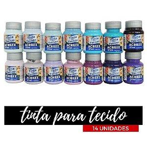 Tinta para Tecido Acrilex 37ml - Degradê Jasmim (14 unidades)