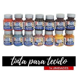 Tinta para Tecido Acrilex 37ml - Degradê Terra (14 unidades)