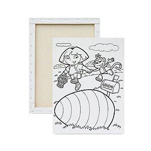 Tela para pintura infantil - Dora Aventureira procurando Ovos de Páscoa