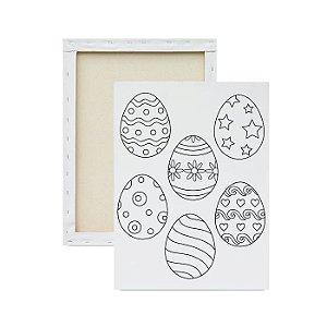 Tela para pintura infantil - Ovos de Páscoa Desenhados