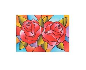 Quadro pintado à mão Cubismo - Rosas Cores 50x70