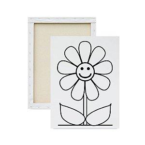 Tela Para Pintura Infantil - Flor Feliz