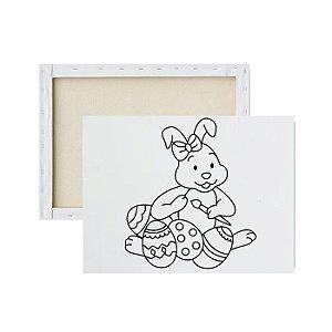 Tela para pintura infantil - Coelhinha Artista