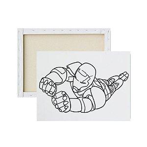 Tela Para Pintura Infantil - Homem de Ferro indo à Luta
