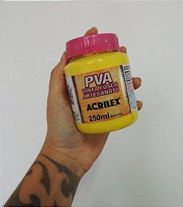 Tinta Fosca para Artesanato Acrilex 250ML - 504 Amarelo Limão