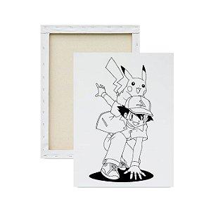 Tela para Pintura Infantil - Ash e Pikachu