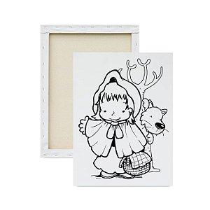 Tela para Pintura Infantil - Chapeuzinho Vermelho e Lobo Mau