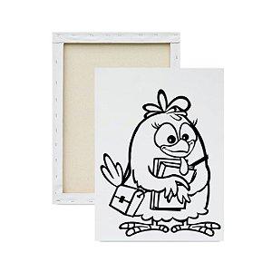 Tela para Pintura Infantil - Galinha Pintadinha Estudando