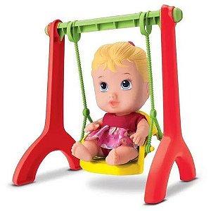 Boneca Bebe Little DOLLS Playground Menina com Balancinho Divertoys 8099