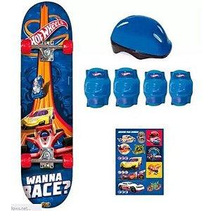 Skate Hot Wheels com Acessórios Azul - Fun Toys