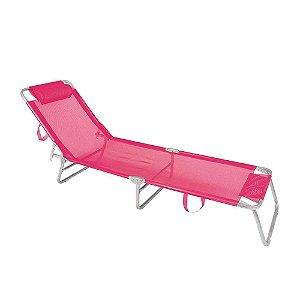 Cadeira Espreguiçadeira Mor Alumínio Rosa