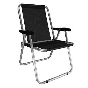 Cadeira Zaka Max Fixa Alumínio Preta 140Kg