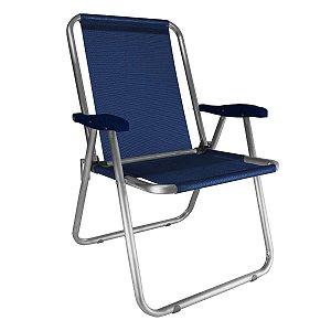 Cadeira Zaka Max Fixa Alumínio Azul Marinho 140Kg