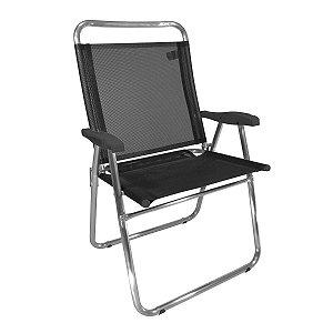 Cadeira Zaka King Fixa Alumínio Preta 140Kg