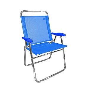 Cadeira Zaka King  Fixa Alumínio Azul 140Kg
