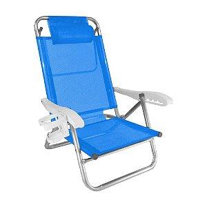 Cadeira Zaka Top Line Reclinável 5 Posições Alumínio Azul 120Kg