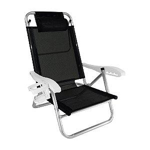 Cadeira Zaka Top Line Reclinável 5 Posições Alumínio Preta 120Kg