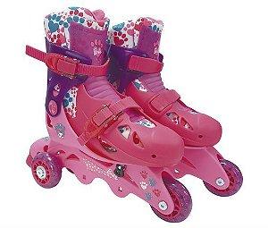 Patins Fun Barbie 3 Rodas Com Acessórios