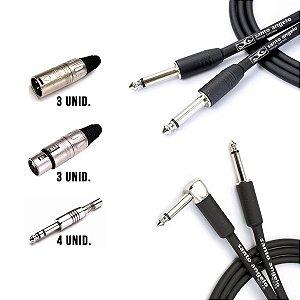 Kit Cabo ANGL L 15ft 4,57mt + NINJA 10ft 3,05mt + 4 Plug P10 Ninja Mono + 3 XLR Femea Linha + 3 XLR Macho Linha