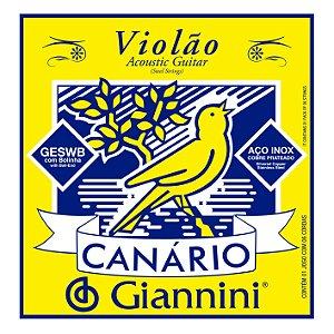 Encordoamento Giannini Canario GESWB para Violao Aço c/ Bolinha
