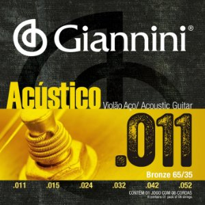 Encordoamento Giannini Acustico para Violao Aco 011 GESPW