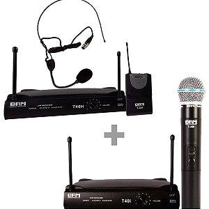 Kit Microfone BRM -  Microfone T40H S/fio Headset + Microfone T40I S-fio Bastão