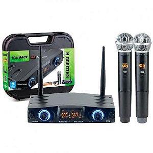 Microfone s/ Fio Karsect KRD-200DR Mao Duplo Recar