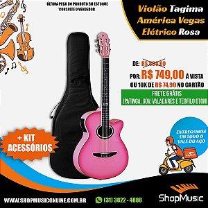 Kit Violão Tagima Vegas T PI Nylon Rosa Elétrico