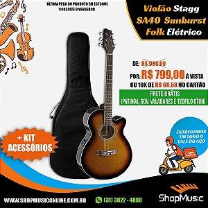 Violao Stagg SA40DCFI-BS Folk Sunburst Elet