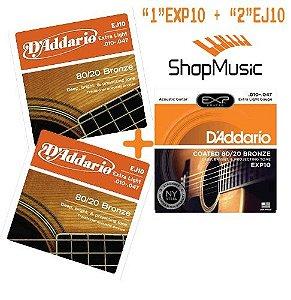 Kit Encord Daddario p/ Violao 2 EJ10+1 EXP10