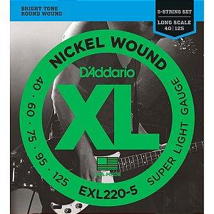 Encordoamento Daddario Baixo Nickel EXL220-5 5 Cordas 040