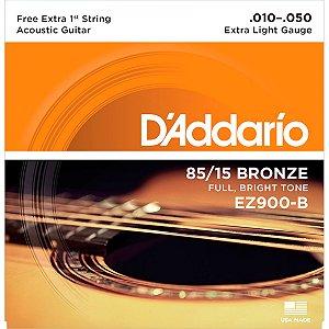 Encordoamento Daddario Violao Aço EZ900-B 010 com 1ª Corda Mi Extra Bronze 85/15