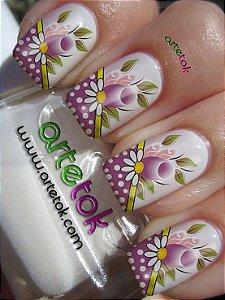Adesivos de unhas floral com poá