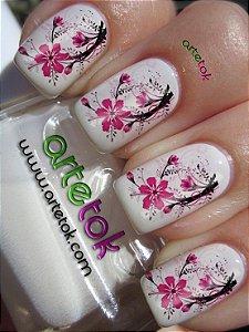 Adesivos de unhas floral rosa