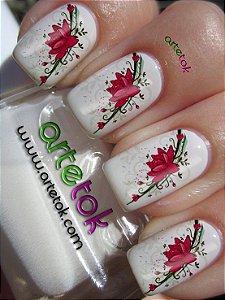 Adesivos de unhas floral vermelho