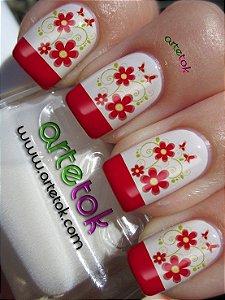 Adesivos de unhas francesinha com floral