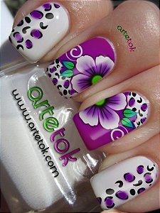 Adesivos de unhas floral lilás