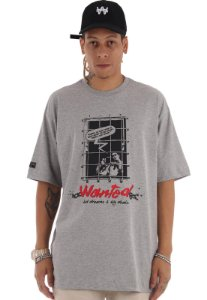 Camiseta Premium Wanted - Behind Bars Cinza