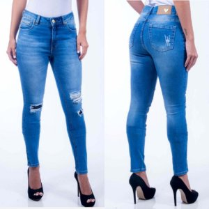 Calça Jeans Cigarrete Destroyed Revanche Ancara