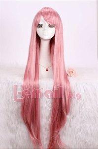Peruca longa rosa 1m
